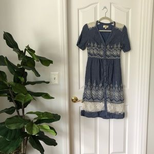 Anthropologie Embroidered Waters Shirtdress